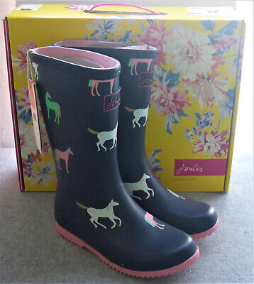 Joules Junior Welly Roll Up Navy Horses Wellingtons Wellies Girls Child Size 1