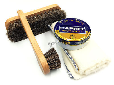 4 PIECE Shoe Shine Travel Kit Leather Care Set Applicator Brush + SAPHIR Polish