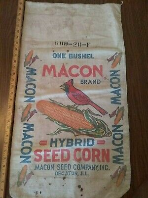 antique Macon brand feed bag sack  Decatur, ill.