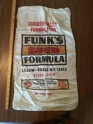 Funk's antique cloth feed bag sack. Bloomington, Ill.