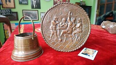 Antique Copper Decorative Items Wall Hanging Plate And French Copper Cauldron