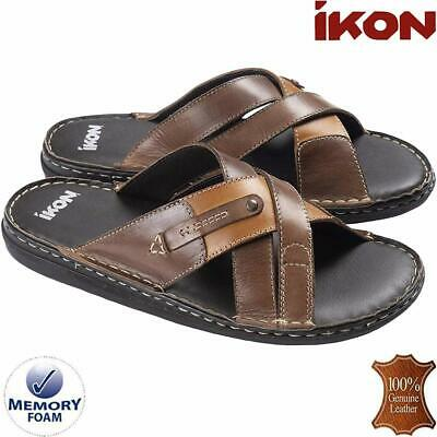 Mens Leather Sandals Walking Memory Foam Comfort Flip Flop Summer Sandals Shoes
