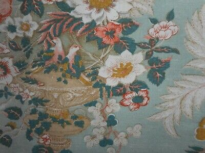 Vintage English Floral Urn Bird  Linen Union Fabric ~ Aqua Melon Green Ochre