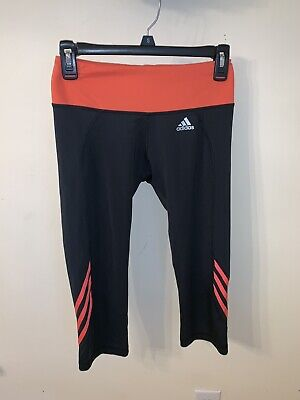 Girls Adidas Fitted Dark Gray/ Orange Capri Leggings   Run Youth Medium 10-12