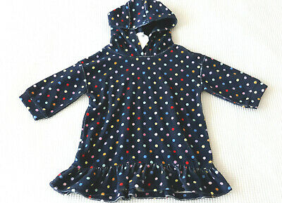 Next Girls Navy Polka Dot Towelling Hooded Dress Age 5-6 Years BNWT Tag £16
