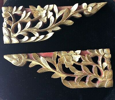 Antique Vintage Pair of Hand Carved Asian Gilt Wood Wall Brackets or Remnants