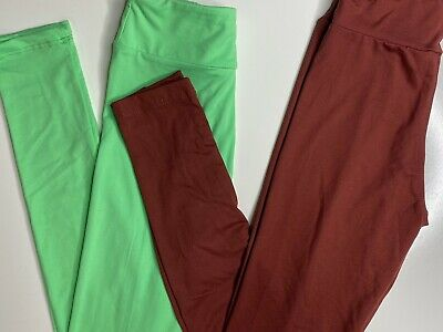 Lularoe Tween Leggings Neon Green And Maroon