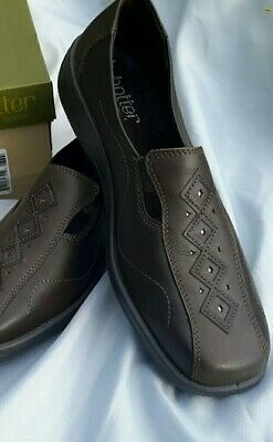 Hotter Calypso Chocolate brown leather shoes Original Box Worn Once Size UK 6.5