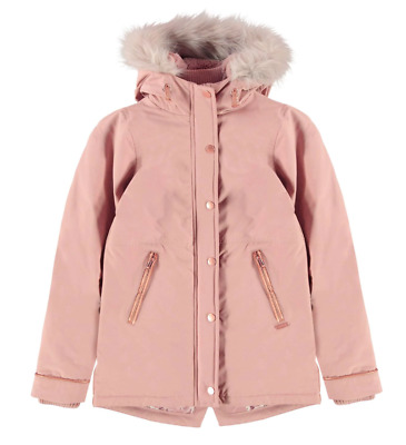 FIRETRAP Girls Rose Pink Faux Fur Hooded Luxury Parka Coat Jacket 13 Years BNWT