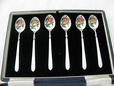 England Sterling Silver Enamel demitasse Spoon SET # 7014
