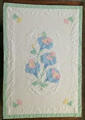 Antique Heirloom Baby Crib Quilt Hand Embroidered Quilted Flowers Kittens 1920's