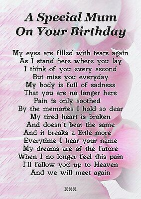 Mum On Your Birthday Memorial Graveside Poem Card With Free Ground Stake F191