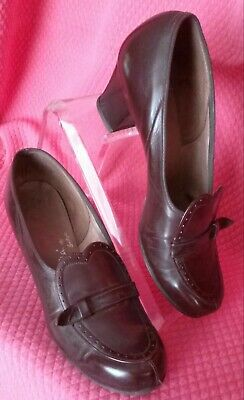 VTG 1940's LEATHER SHOE Pump Heel 7 AA Brown Smooth Penney's Cynthia Good Cond
