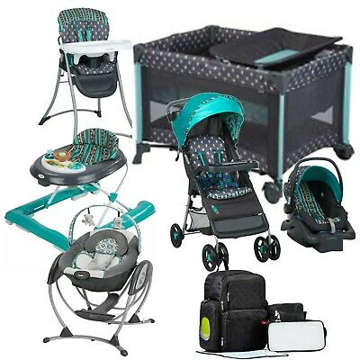 Baby Stroller Car Seat Travel System with Playard High Chair Swing Walker Bag