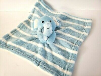 S.L. Home Fashions Baby Lovey Security Blanket Blue White Elephant Striped