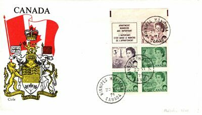 1971 #543a Slate Green Centennial Definitive Booklet Pane FDC with Cole cachet