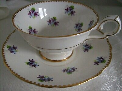 ROYAL STAFFORD SWEET VIOLETS Cup & Saucer Wide Mouthed