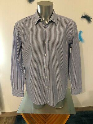 Shirt Blue Striped Black Label Hugo Boss Size 44 17 1/2 XL Regular Almost New