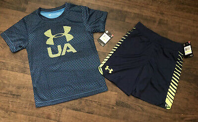 Under Armour Size 4 Boys Outfit Shirt Shorts NEW WITH TAGS ACADEMY BLUE