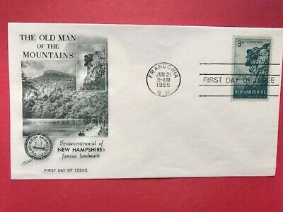 #1068 FDC 3c Fleetwood 1955 Old Man of the  Mountains Franconia NH