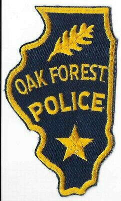 OAK FOREST ILLINOIS IL yellow letters POLICE PATCH