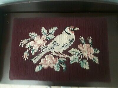 Vintage Needlepoint Stool With Bird