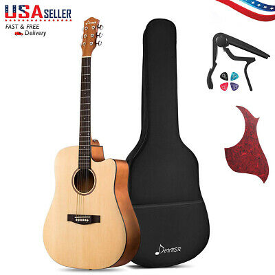 """Donner 41"""" Full Size Acoustic Electric Cutaway Guitar Bundle with Gig Beginner"""