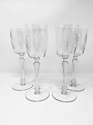 Toscany Hand Blown Hand Cut Crystal Set of 4 wine glasses