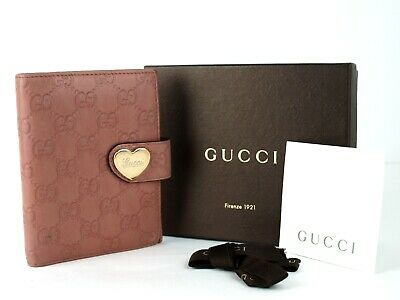 Auth Guccissima Pink Leather 6 Holes Day Planner Organizer Diary Note Book Cover