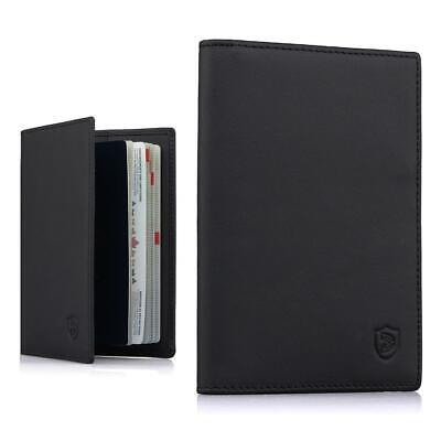 Passport Holder Travel Wallet - Premium Leather RFID Blocking Case Cover - Black