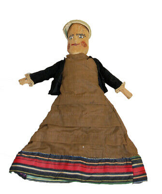 Antique Hand Made Country Folk Art Doll,Carved Painted Wood Dress signed, Maine