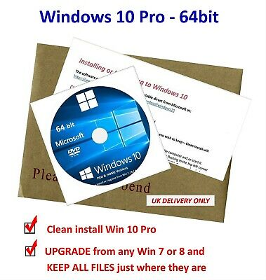 Win 10 PRO 64bit DVD Clean install or UPGRADE Win 7/8 & Keep all existing files