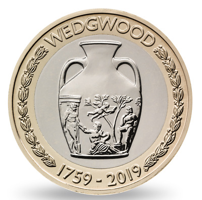2019 £2 pound coin Wedgewood Two pounds Coin UK Royal Mint BUNC uncirculated
