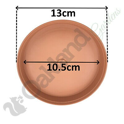 4 x 13cm Plant Pot Saucer Drip Tray Terracotta Plastic Deep High Sided Strong