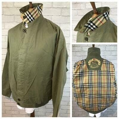 Mens Vtg BURBERRY Green Nova Check Lined Bomber Harrington Jacket XXL 2XL #B3443