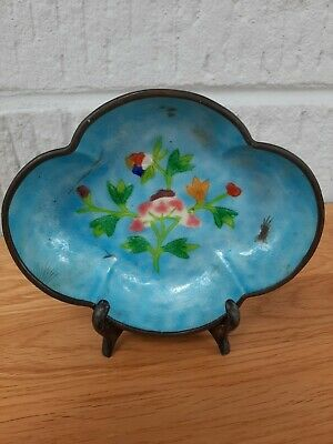 Early 20Th Century Cloisonne Dish. Beautiful Blue. L 14Cm. With Wooden Stand.
