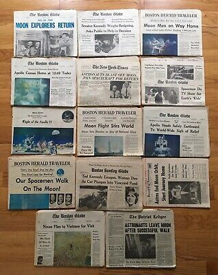 NASA Moon Landing July 1969 Vintage Newspaper Lot of 14 Issues * Exceptional!