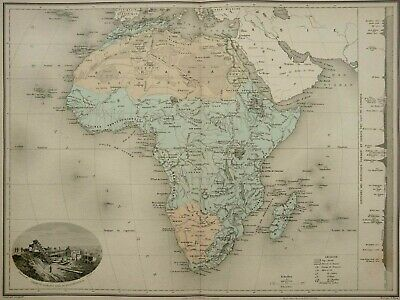 1892 Antique large MAP of AFRICA. Physical Map. Rivers and Mountains. Geography.
