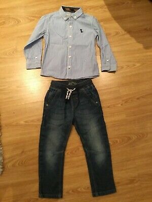 Boys combat jeans & stripe shirt bundle Next age 2-3