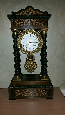 Antique Inlaid & Gilt French Striking Portico Mantel Clock by C. Detouche c1880