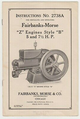 Fairbanks Morse Instructions 2738A Z Engines Style B 5 and 7 1/5 HP 1934