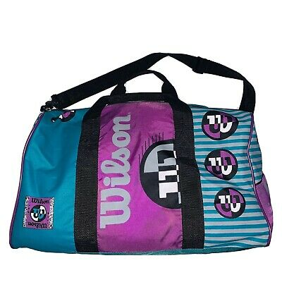 Vintage 90s Wilson Duffel Bag Purple Teal Black All Over Branding Color Block