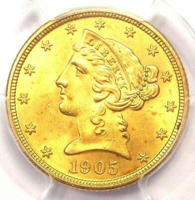 1905 Liberty Gold Half Eagle $5 Coin - Certified PCGS MS65 - $2,500 Value!