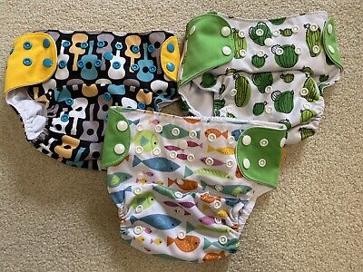 Happy Flute Cloth Diapers Adjustable Set Of 3 Guitars Fish Cactus