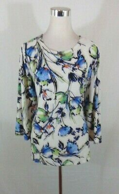 JM Collection Womens 2xl  Top Tunic Blue White Floral Blouse 3/4 sleeves