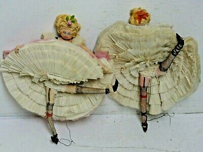 2 Very Interesting Old Can Can Dancers Doll Figures - Rare & Unusual - Cancan