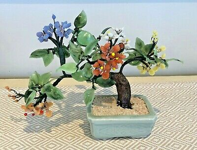 Vintage Chinese Bonsai Tree Jade Coral Muliticolor Glass Flowers Bonsai 68 00 Picclick