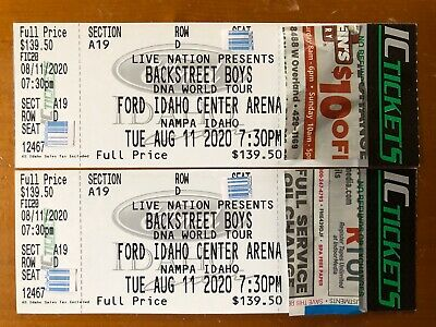 2 Backstreet Boys TIX Sec A19 Row D 8/11/20 at Idaho Center Nampa, ID