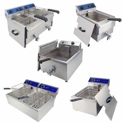 10/20/30L Electric Deep Fryer Commercial Countertop Stainless Steel Fat Chip