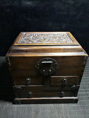 Chinese Qing Dynasty antique Yellow Boxwood wood Multi treasure Cosmetic box EVO